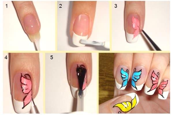 Лёгкие рисунки на ногтях пошаговая инструкция