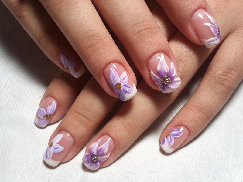 Простой цветок на ногтях в домашних условиях фото