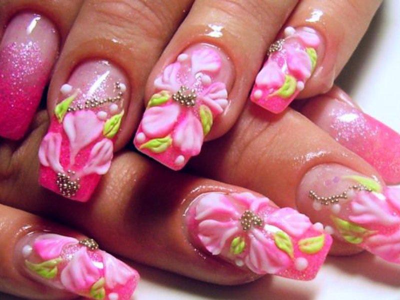 Лепка акрилом на ногтях