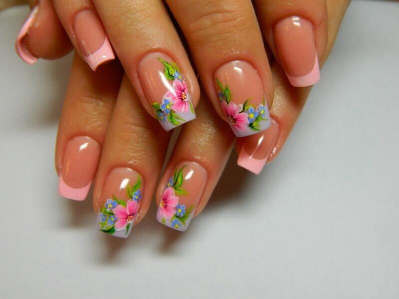 Дизайн ногтей цветной френч с рисунком фото